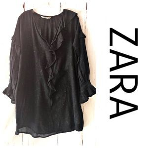 ZARA | Black Ruffle Tunic Top S NWOT